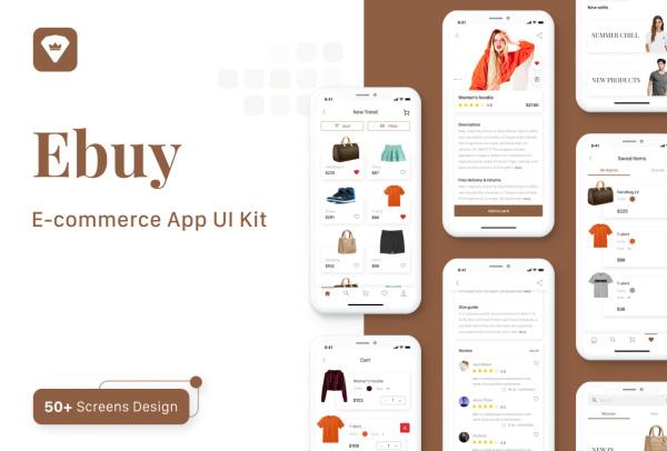 Ebuy 电子商务类移动购物应用程序UI套件 54个UI设计布局