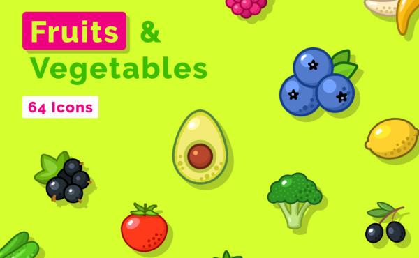 各种水果和蔬菜 矢量图标素材 含64个色彩鲜亮的精美图标