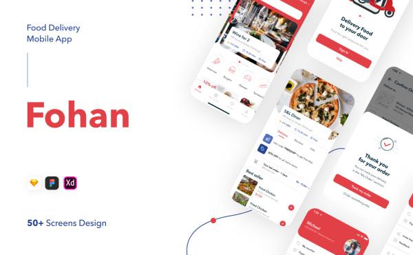 Fohan 外卖送餐 食物交付移动应用UI套件 55个UI设计布局