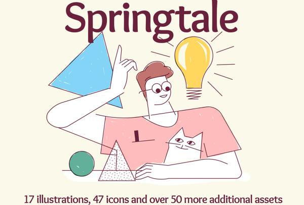 Springtale 明亮的人物场景矢量插画素材 含17幅精美插画