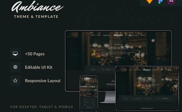 Ambiance 餐厅|酒吧|咖啡馆响应式UI套件 50个UI设计布局