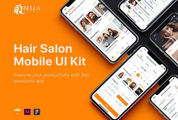 美发沙龙 查找预约 美发店移动应用UI套件 33个UI设计布局
