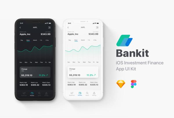 Bankit 财务/投资/金融理财 移动应用UI套件 含60个UI布局
