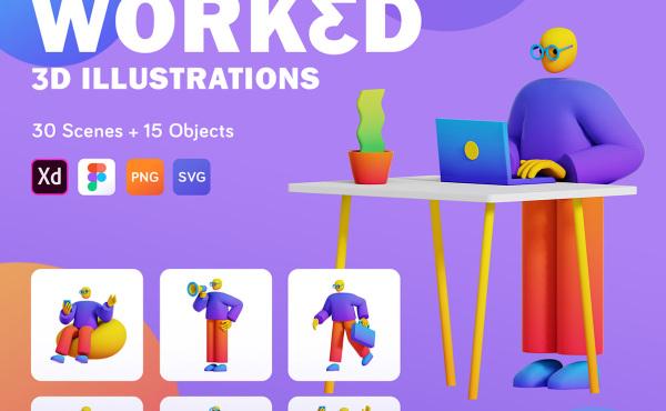 WORKED 人物工作场景 3D风格插画素材 含30幅精美插画