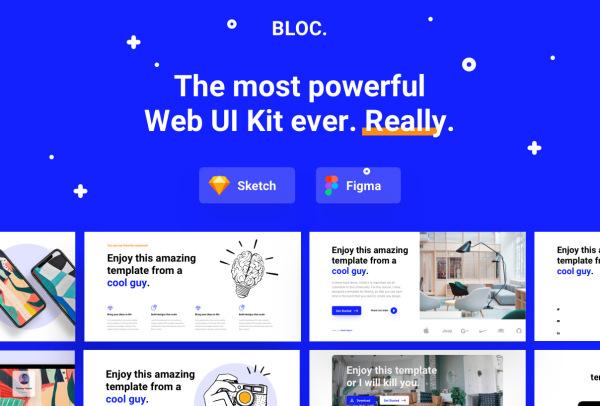 Bloc 多用途Web应用UI套件 含180个通用UI设计布局模块